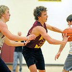 Kade Eisele, right, kicks a pass out to the corner during basketball practice on Wednesday, Nov. 30 at Big Horn High School. Mike Pruden | The Sheridan Press