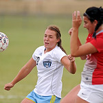 Sheridan College's Ashley Wilcox tries to control a cross during the Lady Generals' matchup with Northwest College on Wednesday, Sept. 21 at Maier Field. Northwest defeated SC 3-2. Mike  ...