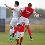 Sheridan College's Valentin Guiseppin, left, and Northwest College's Fernando Hernandez battle for a header on Wednesday, Sept. 21 at Maier Field. Northwest defeated Sheridan 4-0. Mike P ...