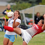Northwest College's Emily Ginley, right, kicks the ball into the face of Sheridan College's Ashley Wilcox during a match on Wednesday, Sept. 21 at Maier Field. Mike Pruden | The Sheridan ...