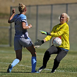 Sheridan College goalkeeper Amanda Hill, right, deflects a shot from Otero's Kayleigh Brough on Saturday, Sept. 10 at Maier Field. Mike Pruden | The Sheridan Press