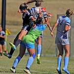 Sheridan College's Sidney Burrell, left, jumps to head the ball over Otero keeper Caylie Hartman on Saturday, Sept. 10 at Maier Field. Mike Pruden | The Sheridan Press