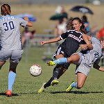 Otero's Cassandra Moosburger, right, pulls Sheridan's Destiny Lalaguna to the ground during a match on Saturday, Sept. 10 at Maier Field. Otero defeated Sheridan College 1-0. Mike Pruden ...