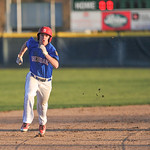 Andrew Ratty rounds second Sunday evening at Thorne-Rider Stadium. Mike Dunn | The Sheridan Press.